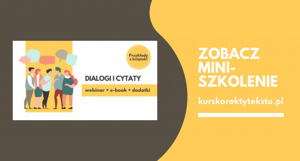 Dialogi i cytaty – reklama miniszkolenia